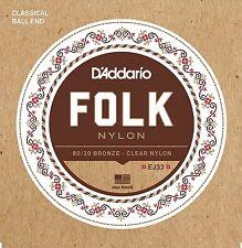 D'Addario EJ33 Folk Nylon Ball End Classical Guitar Strings.Easy String Changing