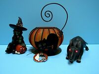 VTG. HALLOWEEN LOT (4) WITCH FIGURE, CANDLE HOLDER, RUBBER RAT EYES LITE, & PIN