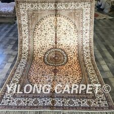 Yilong 5'x8' Pink Handmade Classic  Silk Area Rug Warm Hand Knotted Carpet W194C