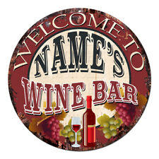 CP-0110 ANY NAME'S WINE BAR Custom Personalized Chic Tin Sign Decor Gift Ideas