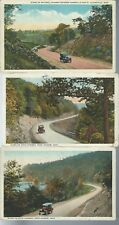 Lot of 3 Scene on National  State Highway Jackson Clairsville Ohio Postcards