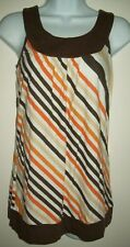 anxiety womens tank top sz s brown orange striped sleeveless back to school top