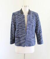 Ann Taylor Blue White Tweed Black Faux Leather Trim Blazer Jacket Size 12P