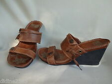 PALLADIUM CHAUSSURE SANDALE COMPENSEE CUIR BRUN FEMME BROWN WOMAN SHOES pt 39