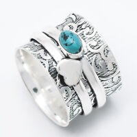 Turquoise Stone Solid 925 Sterling Silver Spinner Ring Meditation Ring sr8920