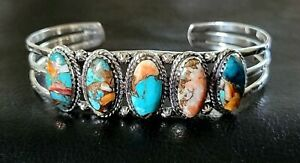 🟠NEW! SANTA FE STYLE TURQUOISE/ SPINY OYSTER SHELL 925 STERLING CUFF BRACELET