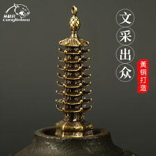 Copper Stupa Exquisite Pagoda Brass Mini Wenchang Tower Keychain Pendant