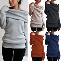 Women's Off Shoulder Sweater Jumper Long Sleeve Casual Pullover Tops Plus Sized