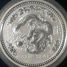AUSTRALIA LUNAR  ZODIAC 10 Dollars 2000  Year of the DRAGON 10 Oz.Silver
