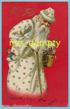 CHRISTMAS~Santa Claus in White Robe~Early Undivided POSTCARD~rare & Hard to Find