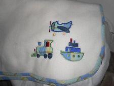"""koala baby plaid blue green cream plaid plane train  PLUSH BABY BLANKET 30 X 40"""""""
