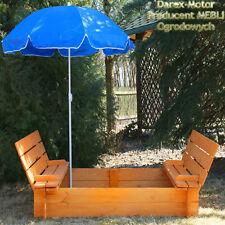 Sandkasten bemalt mit Deckel und Sitzbänken Sandkiste imprägniert 150cm + Schirm