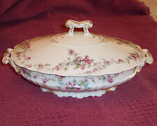 Theodore Haviland Limoges Schleiger #1246 Covered Vegetable Bowl, pink flower