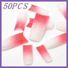 50pcs Pink White Gradient Glitter French False Nail Tips FN0018+1 Free Glue