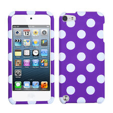 Purple White Dots Faceplate Apple ipod Touch 5 5G Protector Hard Case Snap Cover