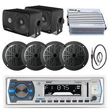"""5.25"""" Black Marine Speakers USB Bluetooth Radio, Box Speakers, 400W Amp, Antenna"""