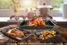 Pack of 3 Roasting Trays Handles Cooking Set Oven Dish Bakeware Non Stick Baking