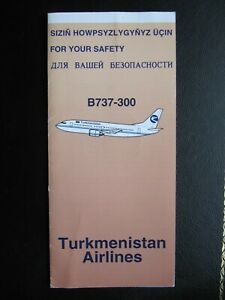 TURKMENISTAN AIRLINES safety card BOEING B 737-300 trifolder