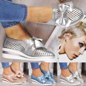 WOMENS SLIP ON SHOES COMFY CASUAL LOW WEDGE PUMPS LOAFERS LADIES SNEAKERS SIZE