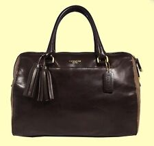 COACH 25319 Legacy Haley Chocolate Brown Leather/Suede Shoulder Bag Msrp $698