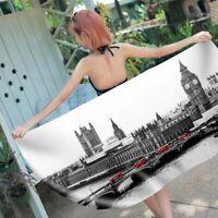World Famous Scenery Eiffel Tower Big Ben Italy Bath Swim Beach Towel Blanket
