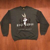 Original Vintage Bugs Bunny Hare Wear Green Sweatshirt Looney Tunes Size XL