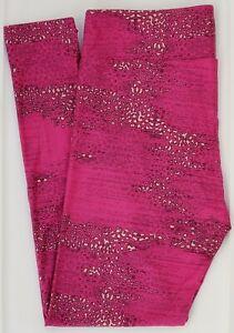 TC LuLaRoe Tall & Curvy Leggings Fuchsia Pink Stone Rock Wall Print NWT E82