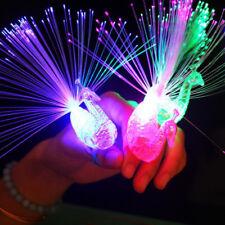 1x Plastic Creative Child Peacock LED Fiber Finger Night Light Party Toy Gift