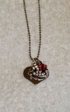 HELLO KITTY SMALL HEART CHARM PENDANT NECKLACE RHINESTONE CRYSTAL RHODIUM PLATED
