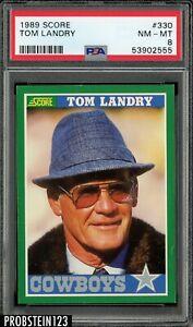 1989 Score Football #330 Tom Landry Dallas Cowboys PSA 8 NM-MT