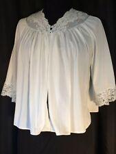 vintage Bed Jacket 3/4 sleeve Lace blue S feminine 60's Shadowline button Nylon