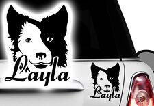 1x Adesivo Collie Bordo Bulldog Francese Nome Cane NOME A SCELTA xxx