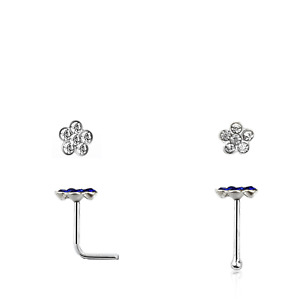 Real 925 Sterling Silver Small Nose Stud with crystal flower Piercing