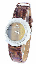 NEW CROTON BROWN LEATHER WOODEN LOOK DIAL DIAMOND WATCH