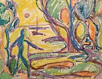 PINIAT 1925-2017 NEW YORK CITY ABSTRACT MODERN 1967 FIGURE LANDSCAPE PAINTING
