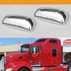 For 2008-2016 Kenworth T660 T600 T370 T170 Chrome Door Mirrors Covers Set