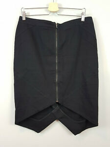 [ WILLOW ] Womens Black Zip Front Skirt RRP$300+ | Size AU 14
