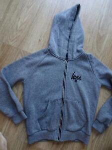 HYPE KIDS boys grey hooded zip thru jumper hoodie AGE 9 - 10 YEARS