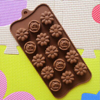 UK 1x 15-slots Silicone Cake Chocolate Cookies Baking Mold Mould Ice Flower I2E0