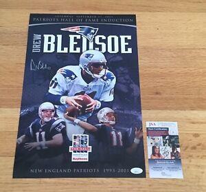 Drew Bledsoe New England Patriots Signed Autograph HOF Induction Poster JSA COA