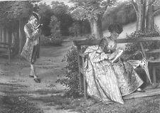 Victorian England, MAN & WOMAN in DRESS FLIRT IN PARK ~ 1872 Art Print Engraving