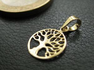 Baum des Lebens Ø 14mm Kettenanhänger 333 8 Karat Gelbgold Herz Lebensbaum 9108