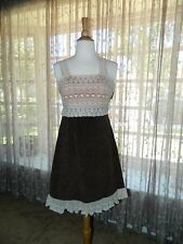 *NWT!* New Anthropologie Zeharvale Brown Corduroy & Ivory Lace Dress Size 2-4