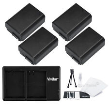 4x NP-FW50 Replacement Battery & USB Dual Charger for Sony NEX5 NEXC3 NEXC5 NEX7