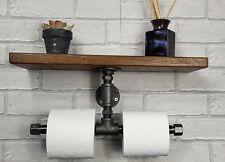 Industrial Pipe Double Toilet Roll Holder With Rustic Shelf