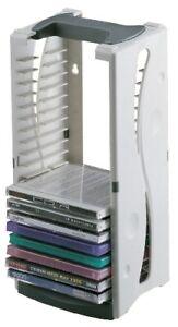 CD Turm Ständer Tower Regal grau 20 CDs Plastik stapelbar 145x170mm Aufbewahrung
