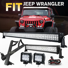 "New listing 52"" 700W+22""+4"" 18W Led Light Bar+Mount Bracket For Jeep Wrangler Jk Rubicon 20"