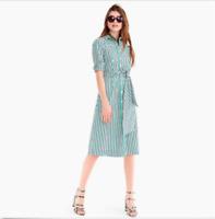 J Crew Green White Blue Tie Waist Long Sleeve Cotton Striped Shirt Dress 8 Nwt