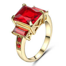 Women Lady 18K Yellow Gold Filled red ruby Ring Wedding Fashion Jewelry Size 8