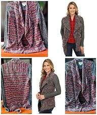 Lucky Brand Lucky Lotus California Sweater Small Mixed Wrap Wine Grey Open Knit